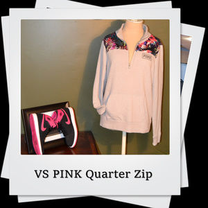 EUC | VS PINK Gray Floral Quarter Zip Sweatshirt